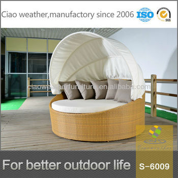 Folding Outdoor Sofa Bed Wicker Round Daybed Set