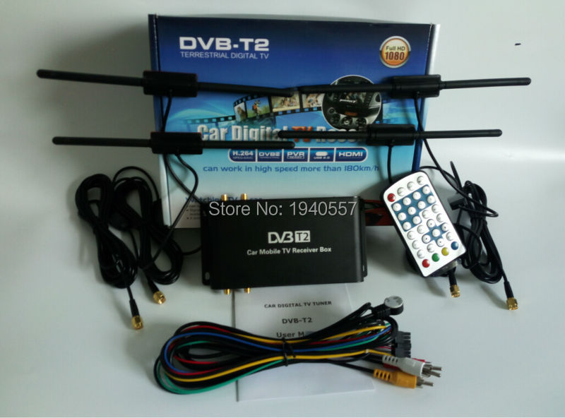 180km/h DVB-T2 Car digital tv tuner receiver box car dvb t2 USB HDMI 4 antenna for Russia Kenya Colombia Thailand Singapore