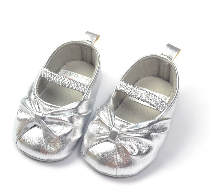 Formal dress baby shoes for girl silver toddler soft ...