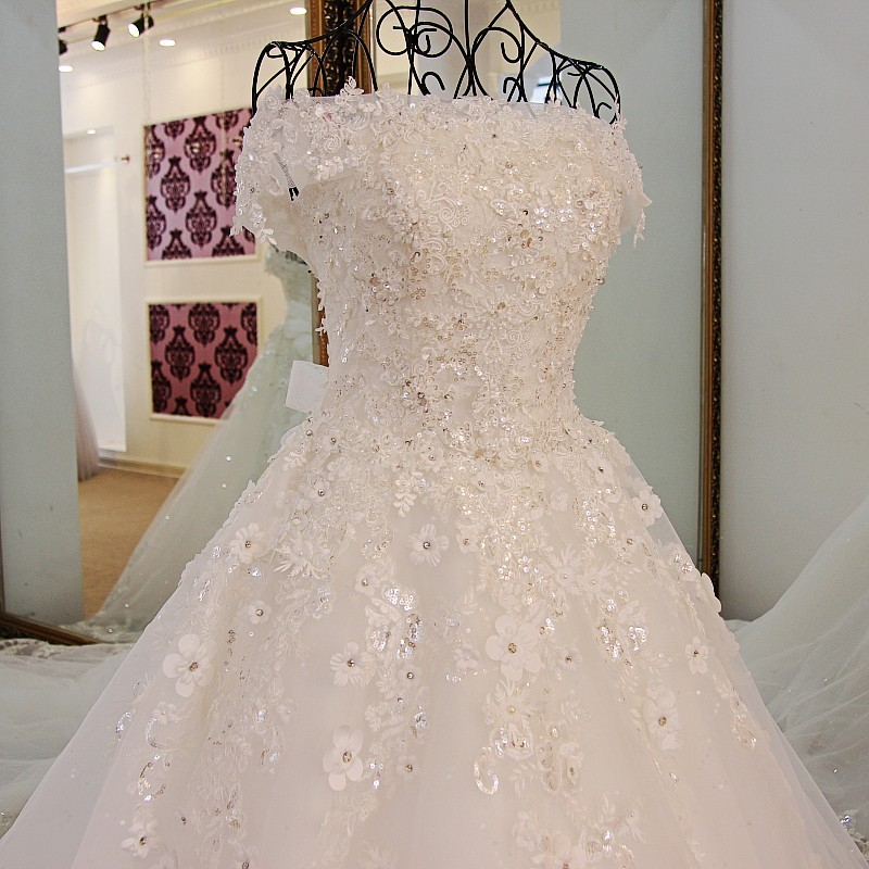 Ls98850 Sleeveless Appliques Wedding Dress Lace Patch Lace Natural ...