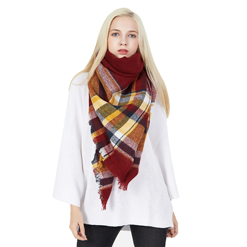 2019 custom printed red plaid winter fashion blanket scarf women