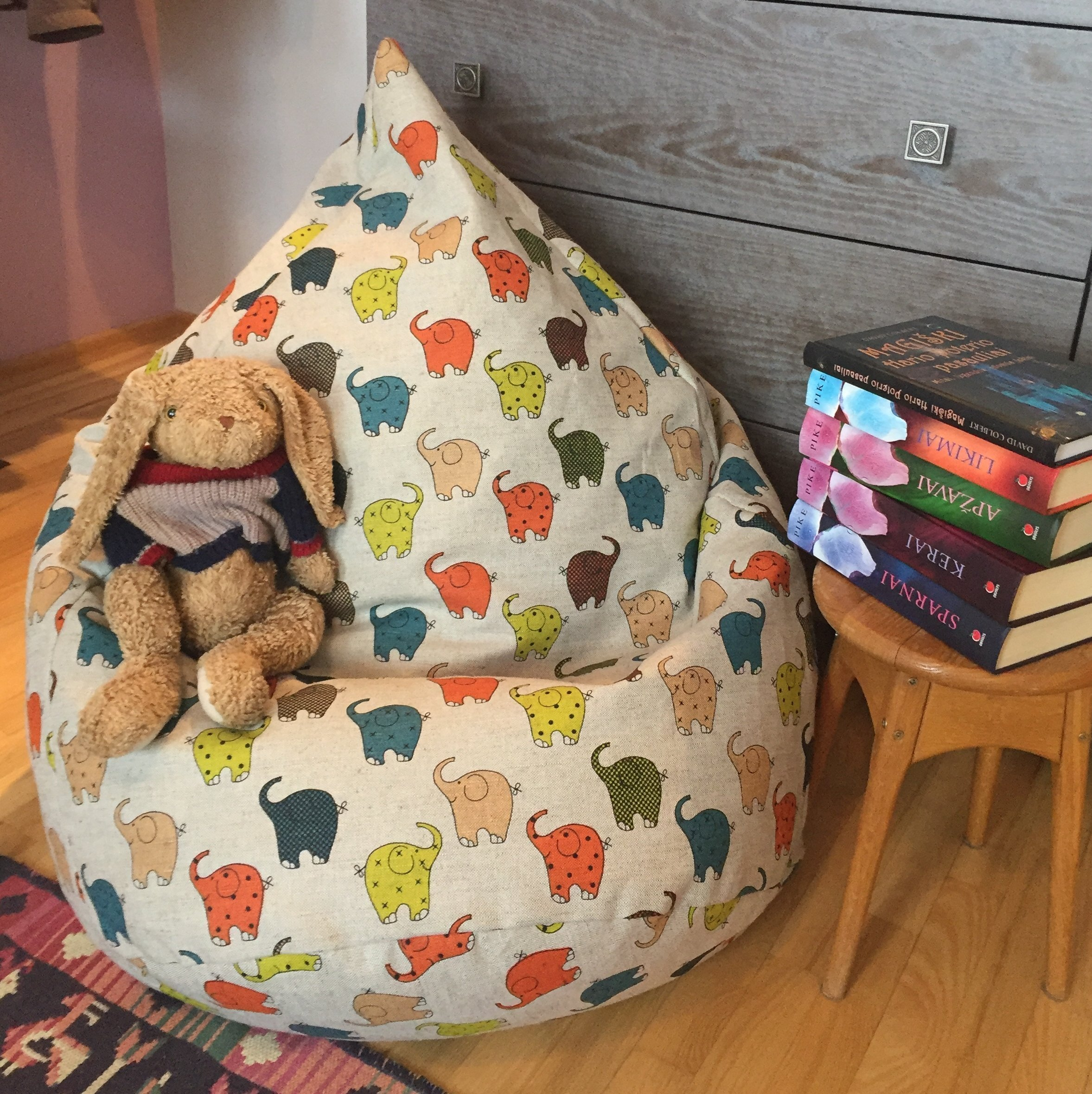 Get Quotations Kids Beanbag Natural Fabrics Cover Large Eco Friendly Bean Bag Chair Colorful Elephant Print With Insert
