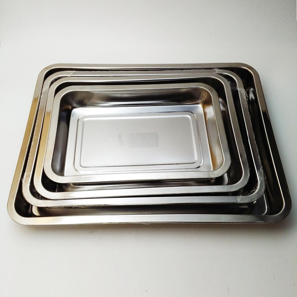 Cheap Rectangle Stainless Steel BBQ Baking dish Dinner Plates square tray