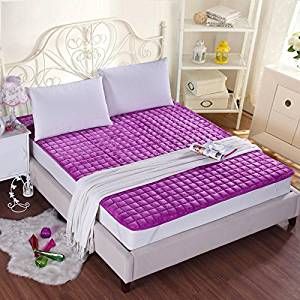 GAO Bed-Blankets Thick Flannel Blankets Anti-Slip Bed Cushion Thin Pads Washable Bedding Solid Color Double Bunk Beds, Blankets and Mattresses Of Anti-Skid ,150200Cm, - Purple