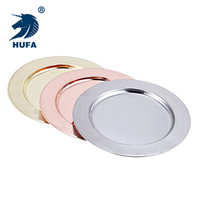 12 inch circle plate round metal plates food safety dishes reusable stainless steel charger plate