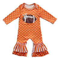 Milk Silk Newborn Baby girls long sleeve romper jumpsuit polka dots leg ruffle football romper