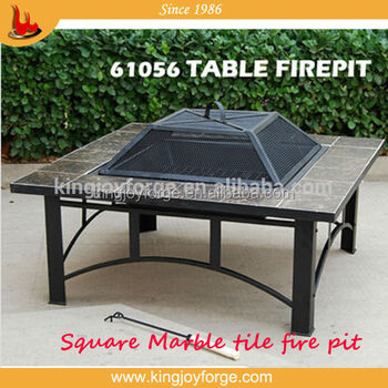 Kingjoy  Garden Wood Burning Marble Top Table Firepit With BBQ Grill