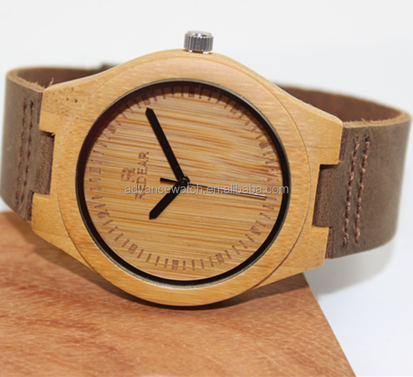 stock watch Wholesale free shipping fast <strong>delivery</strong> Bamboo/Wooden watch matching leather strap