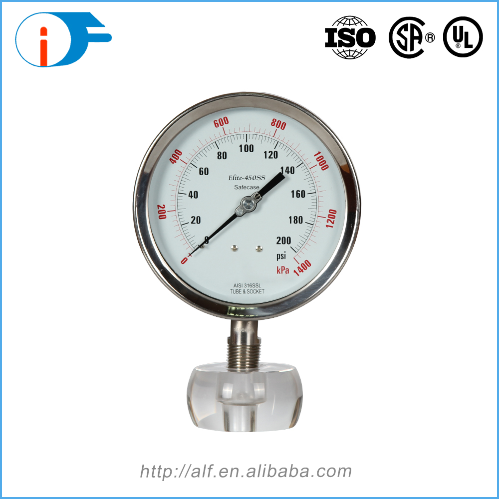 Custom Logo Printed Corrosion Resistance Stainless Steel Explosion Proof Special Pressure Gauge