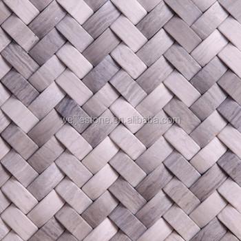 Woodern Grey Marble Basket Weave Pattern Tile