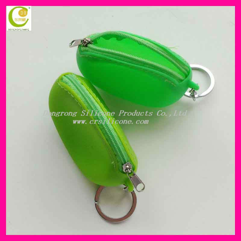 New Design Shaped Silicone Coin Pouch/Zipper Coin Bag With Key Chain/Coin Purse