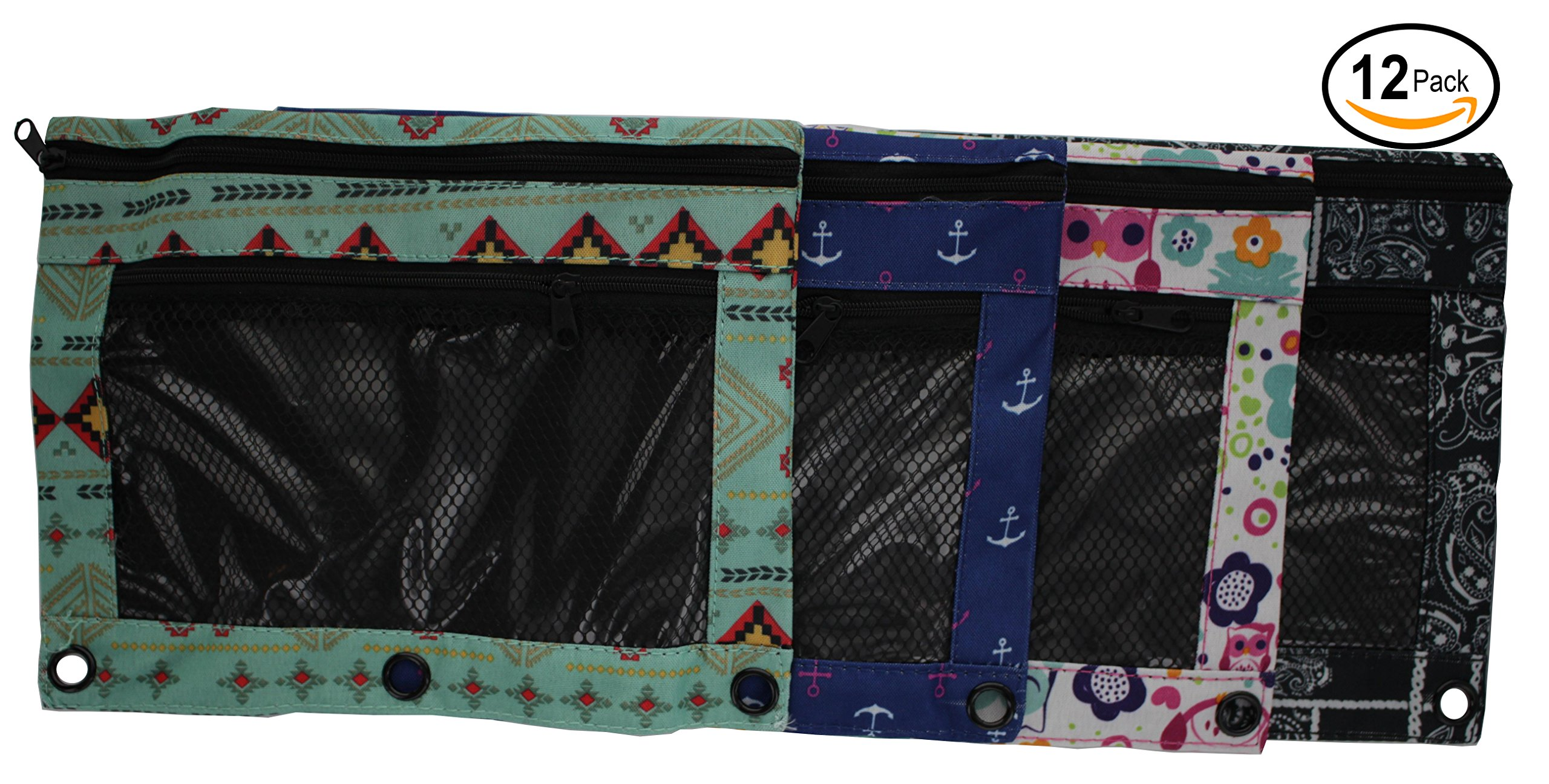 Emraw 4-Pack Double Pocket Zippered Trendsetters Pencil Pouches with 3-Ring Grommet Holes & Quick View Mesh Pocket - Includes 4 Different Styles