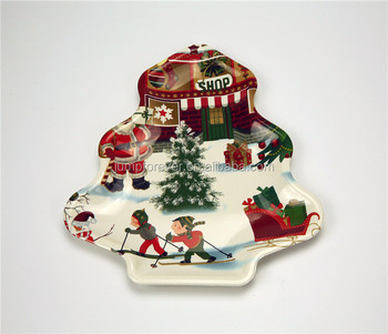 high quality christmas plastic plates christmas tree shaped plates - Christmas Plastic Plates