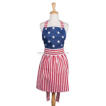 Grembiuli Da Cucina Particolari.100 Cotone Dell Annata Della Bandiera Americana Delle Donne Grembiule Da Cucina Pannello Esterno Di Disegno Del Vestito Perfetto Per Grembiuli Da