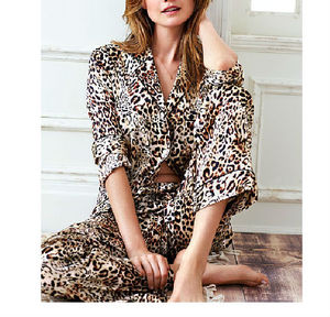 Spring Autumn Cheap Sexy Women Leopard Print Satin Pajamas