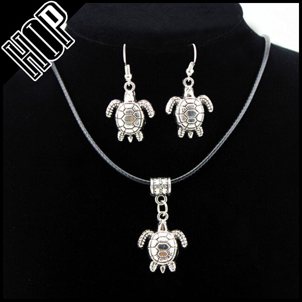 Cheaper necklace set silver alloy sea turtle charm