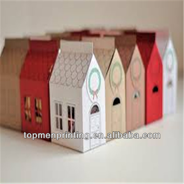 2015 New Design House Shape Paper Gift Box Packaging, Flat Pack Gift Box