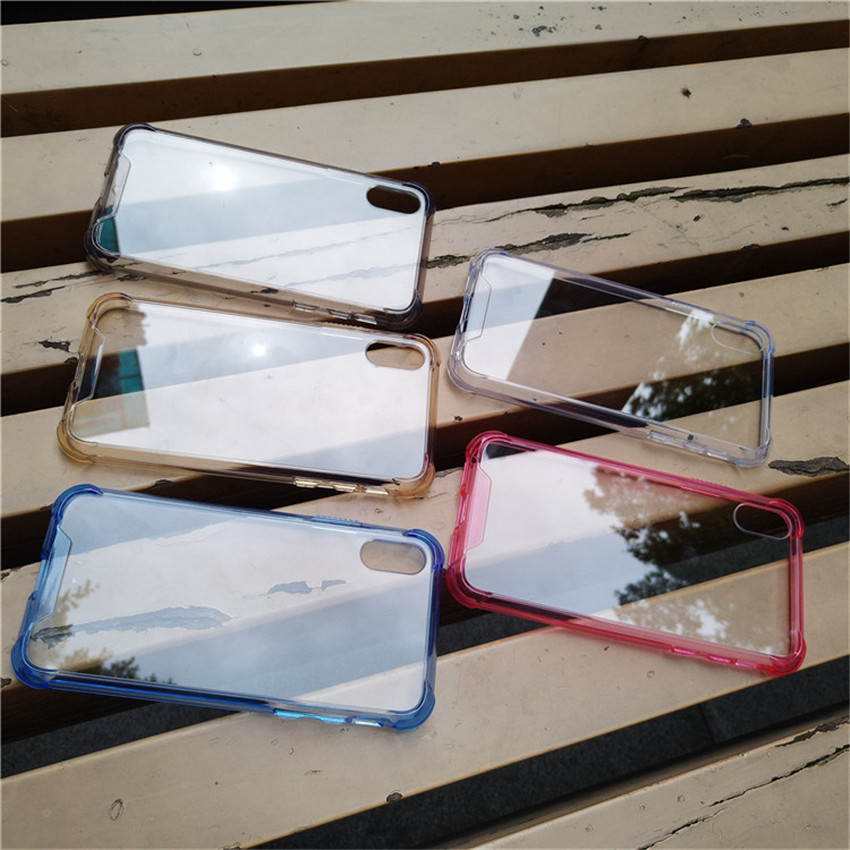 TPU + PC Case Ultra-Thin Transparent Four Corners Anti-Drop Airbag Phone Back Case for iphone X Fashion Solid Color CA5735