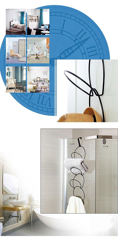 Katoot@ Bathroom Towel Storage Rack Hat Clothes Hanger Multifunctional Metal Wire Stackable Wall Mounted Over Door Holder New Design (Black)