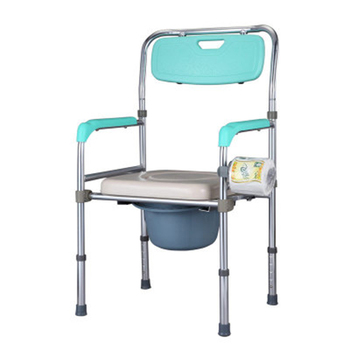 Plastic back and soft seat aluminum alloy toilet commode bath chair