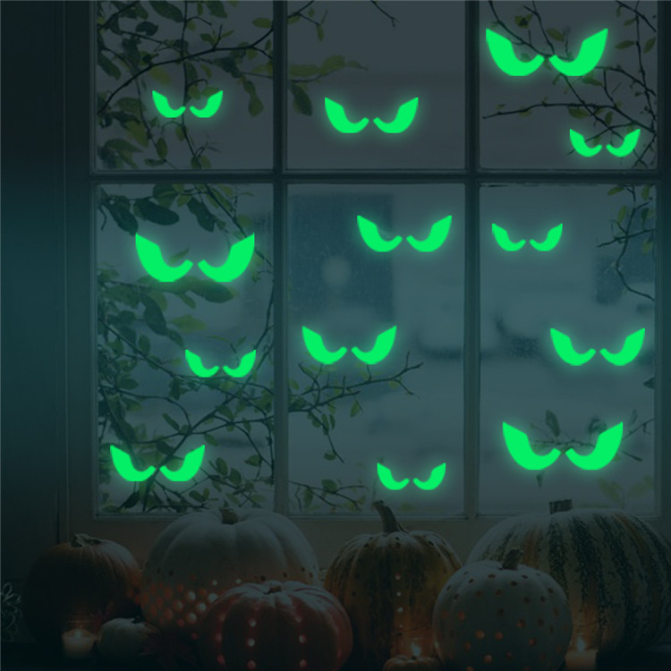 custom bats eyes glow in the dark wall stickers for halloween children's room living room pvc night glow shiny wall decals paper