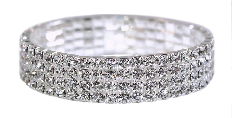 Weiss Rhinestone Stretch Bracelet Silver - Genuine Crystal - Bridal, Wedding, Prom, Party, Pageant, Evening Wear, Party Wear, Tennis Bracelet
