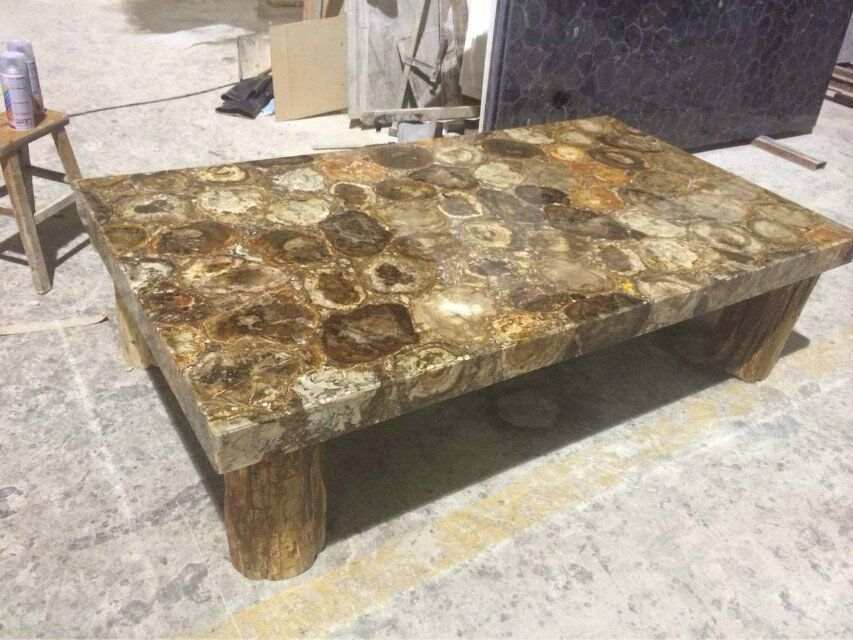 Polished Petrified Wood Onyx Dining Table Marble For