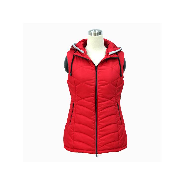 Fancy Clothing Women Show Thin Super Warm Ski Vest Nylon Sleeveless Jacket Hooded Waistcoat