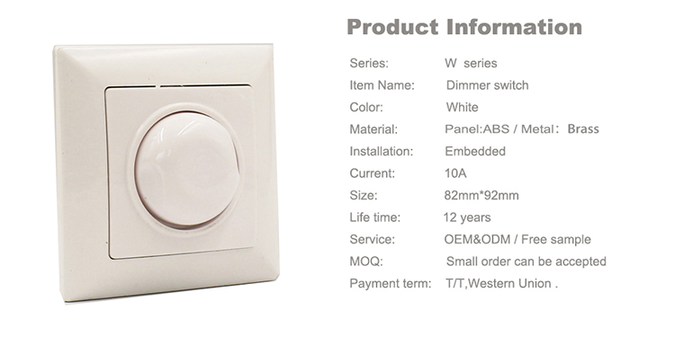 Promotion Items 16A 250V European Standard Wall sSocket Switch Bulb Dimmer Switch