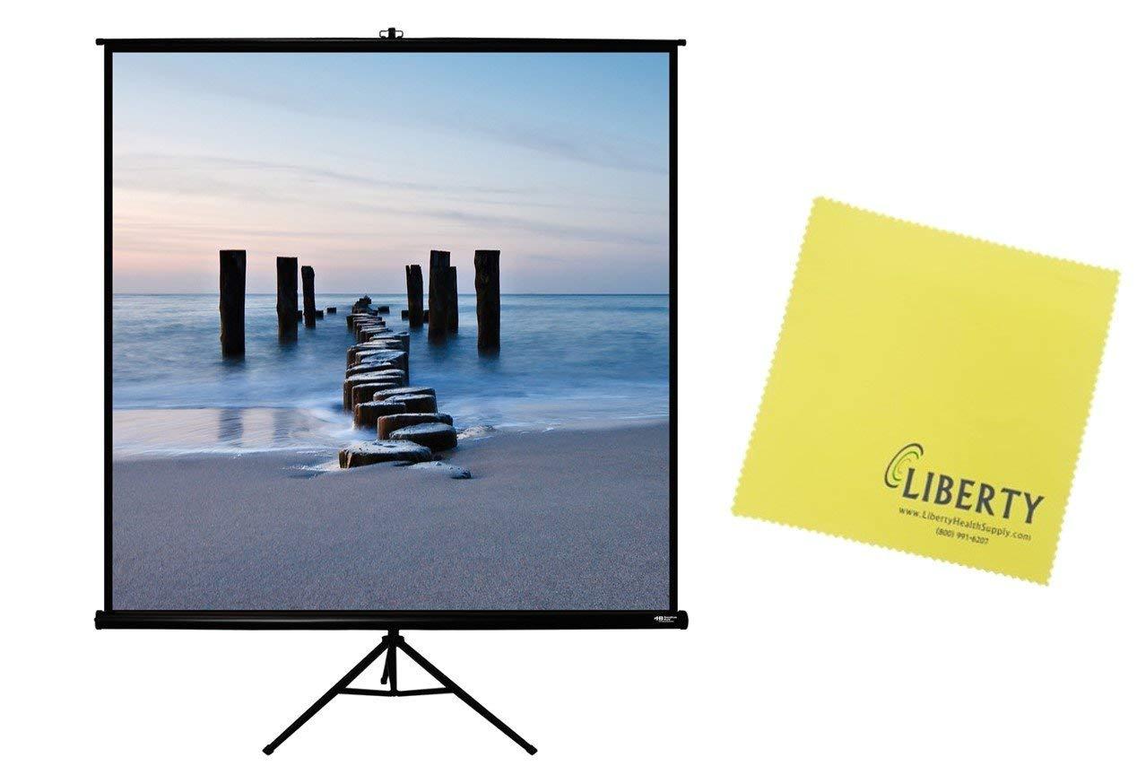 "HamiltonBuhl 113"" Diag. (80x80) Tripod Projector Screen, Square Format, Matte White Fabric, Black Case And Free Liberty Microfiber Cloth"