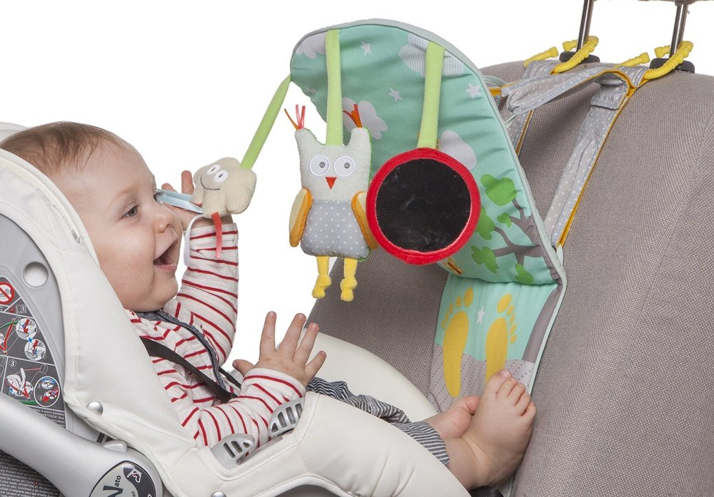 Taf Toys Play & Kick Car Seat Toy | Baby's Activity & Entertaining Center, For Easier Drive And Easier Parenting, Soft Colors To Keep Baby Calm, Lights & Musical, Baby Safe Mirror, Detachable
