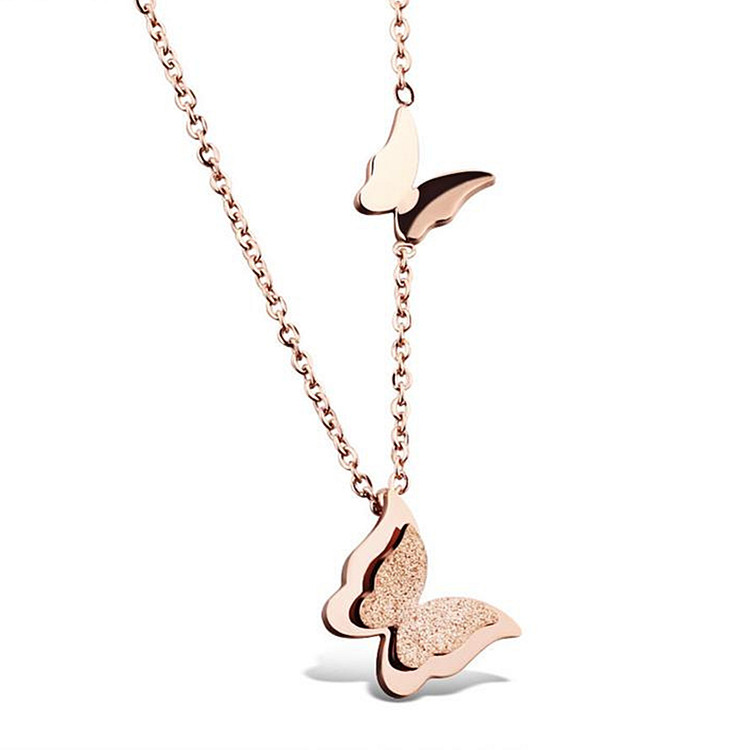 Fashion simple frosted double butterfly jewellery necklace rose gold short chain necklace
