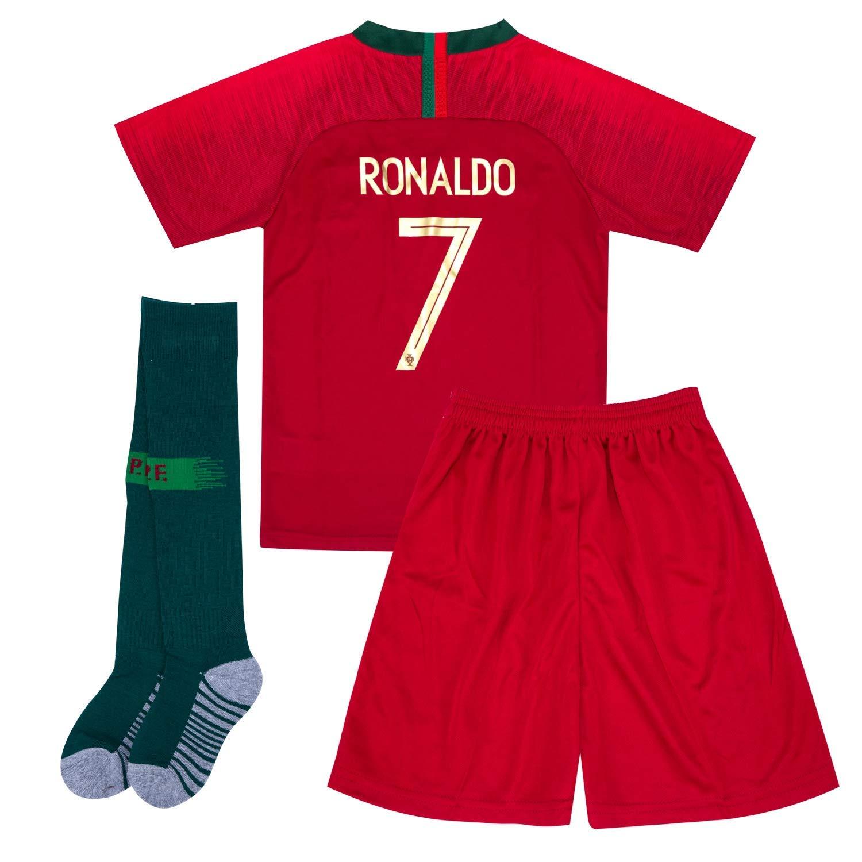 6603bc1766d Get Quotations · 2017-2018 C Ronaldo  7 Soccer Jersey   Shorts   Socks Youth  Kids
