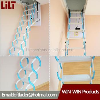 Steel Automatic Electric Telescopic Loft Ladders,hydraulic Folding Attic  Stairs