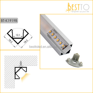 Corner surface mounted LED extrusion aluminium profile for linear strip light