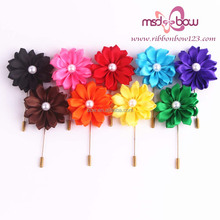 Eye-catching artificial flower satin brooch for garment decoration