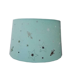 Laser light cutting pattern star round fabric lamp shade