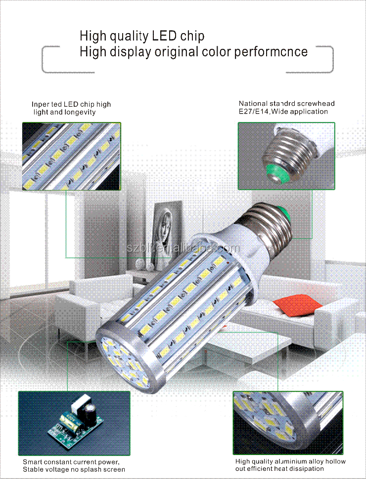 low price china factory U shape energy saving led light bulb 10w E27 B22 led corn bulb led lamp