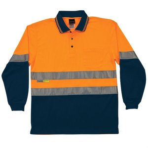 high visibility longsleeve reflective tape polo shirt