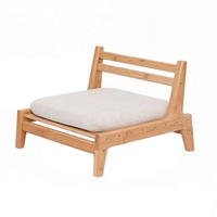 BAMBOO Floor Seat Chair for Living Room Japanese Balcony Chair with Cushion Accent Furniture