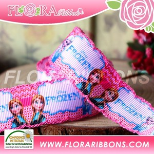 China design custom printed stitch frozen grosgrain ribbon