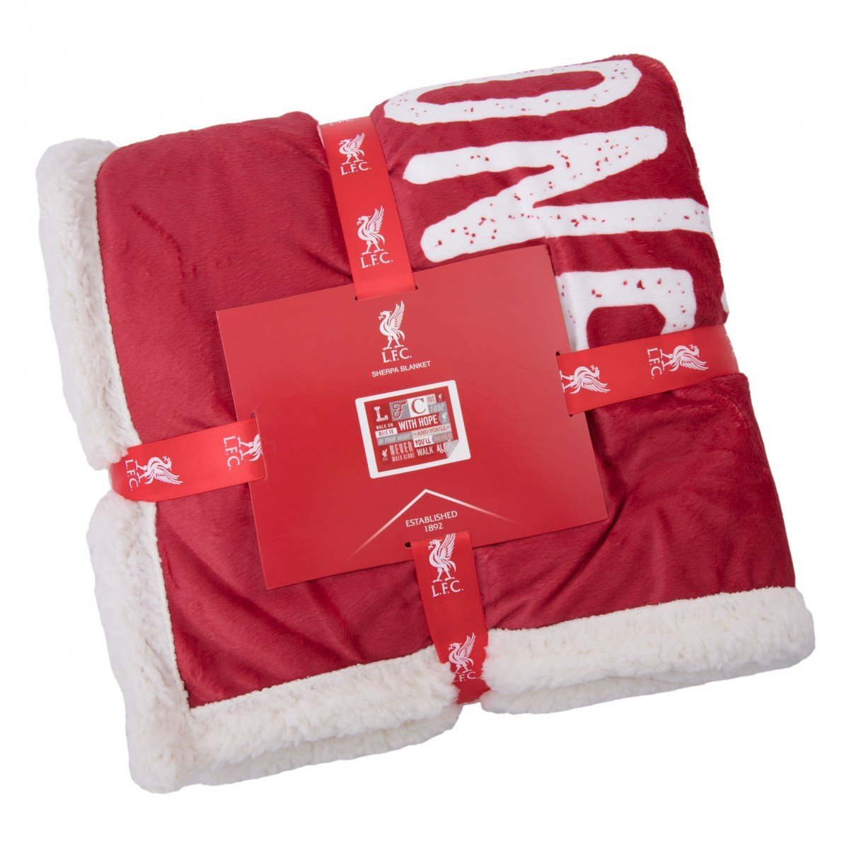 Liverpool FC Fleece Sherpa Blanket - Official Club Product