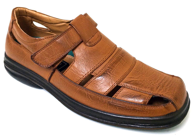 44e134d41b37 Get Quotations · Veeko A2V7203B Men s Closed Toe Dress Sandals Fisherman  Huaraches Hook and Loop Casual Slip-on