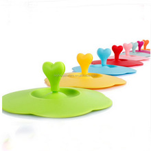 Silicone Cup Lid and Ceramic Mug Lid Cover with Heart Shape Spoon Stirrer Holder for Cup