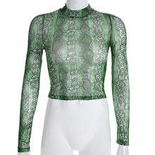 Женская Сетчатая футболка Darlingaga, повседневная зеленая футболка с принтом змеи и длинным рукавом, Прозрачная женская футболка из змеиной ко...(Китай)
