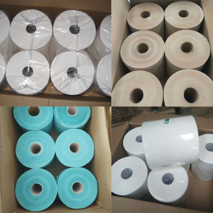 Wholesale White Virgin Pulp Biodegradable High Absorbent  Roll Hand Paper Towel