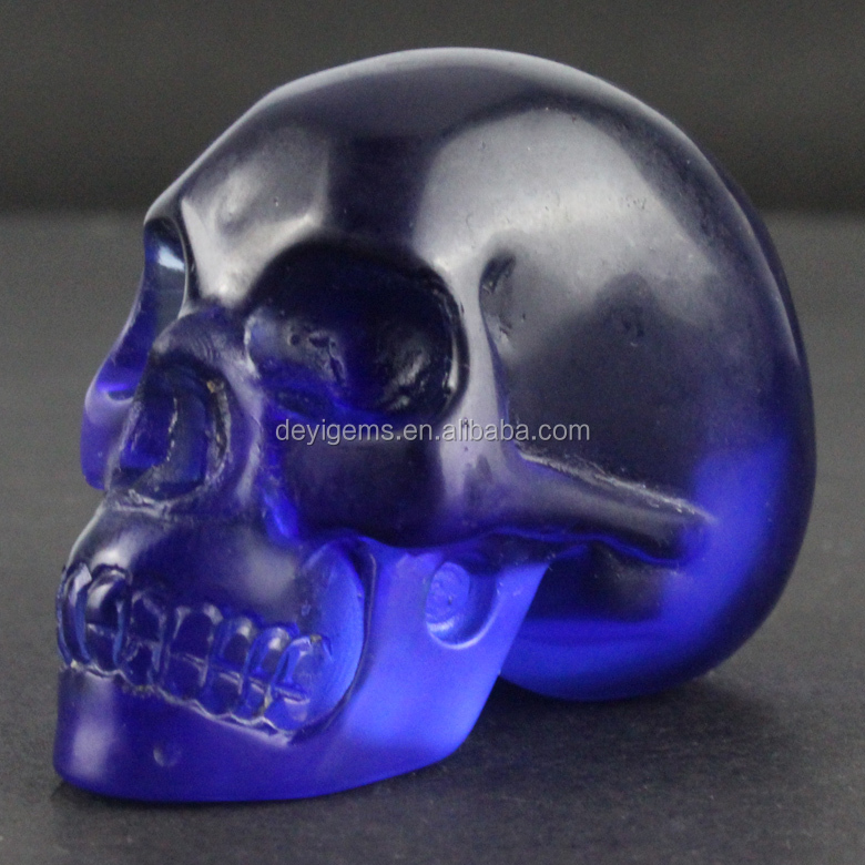 2016 Wholesale Blue Obsidian stone skull for Decorative Skull Head