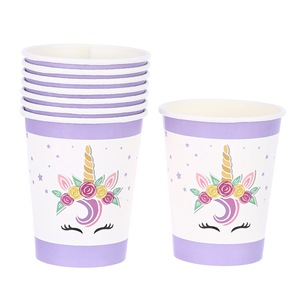 Kids Birthday Party Tableware Supplies Printed Disposable Unicorn Paper Cups for Baby Shower Decoration Wholesale