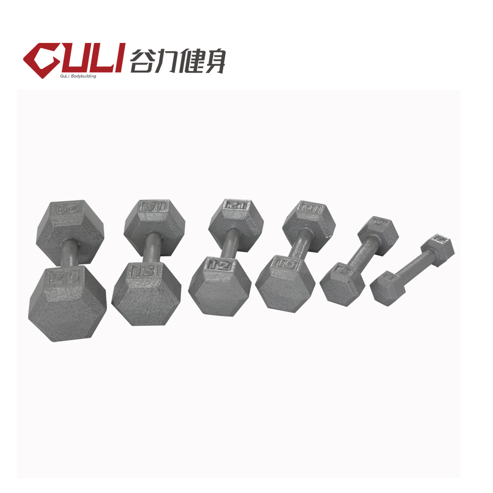 Gym Grey Hammertone Cast Iron Hex Dumbbell With Straight Handle