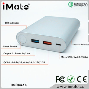 10400mAh fast charge power bank QC3.0 12v with Type-c 5V3A input output